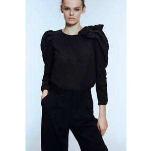 Zara Swiss Dot Blouse with Bow